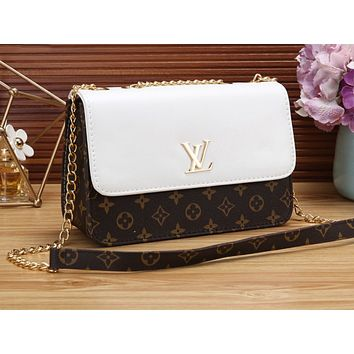 LV Fashion Hot Printed Women's Single Shoulder Bag White
