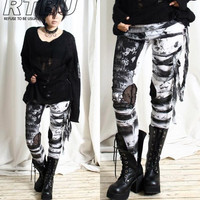 Unisex Ultra Long Gathered Punk Gothic Rocker Distressed Tie Dye Legging/Pants
