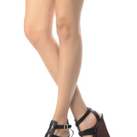 Black Faux Leather Cage Cut Wedges