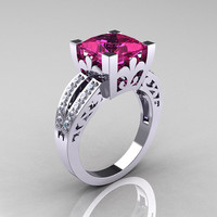 French Vintage 14K White Gold 3.8 Carat Princess Pink Sapphire Diamond Solitaire Ring R222-WGDPS