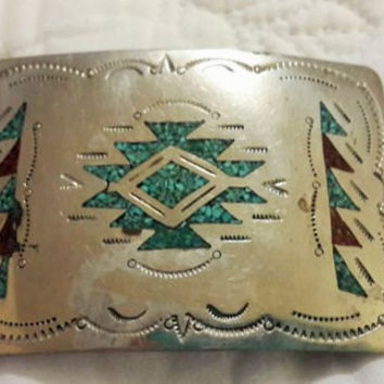 Silver Belt Buckle / Sterling with Turquoise and Hammered Details / Handmade Bohemian or Cowboy Belt Buckle Free Shipping in US