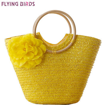 FLYING BIRDS! 2016 beach bag women handbags Bohemian women straw bag summer handbags bolsas women's bags travel bags LS8880fb