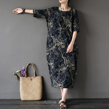 Chinese style Flower Print Plus size Women Dress Loose Casual Oversized Summer Dress Robe Femme Linen Cotton Long Dress A002