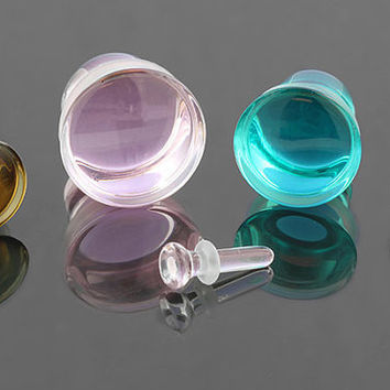 "Single flare glass plugs 8g (3mm), 6g (4mm), 4g (5mm), 2g (6mm), 0g (8mm), 00g (10mm), 7/16"" (11mm), 1/2"" (13mm), 9/16"" (14mm), 5/8"" (16mm)"
