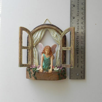 Fairy Garden Accessories Window with Fairy - miniature garden accessory - window for tree stump - fairy door window - glitter wings