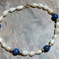 Vintage Blue Lapis Lazuli Freshwater Pearl 14k Bracelet Rice Pearls Round Blue Stone Beads 14kGold Round Beads + Clasp Sweet Beaded Bracelet