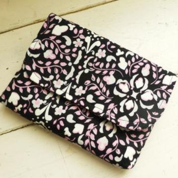 Fabric wallet, fabric clutch, fully lined, women's accessory, ready to ship, handmade, pink and black, hand bag, purse, small purse, cute