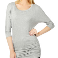 Stretchy 3/4 Dolman Sleeve Drape Top with Side Shirring (CLEARANCE)