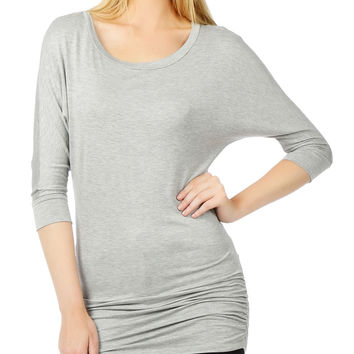 LE3NO Womens Stretchy 3/4 Dolman Sleeve Drape Top with Side Shirring (CLEARANCE)
