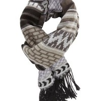 Geo-Aztec Print Fringe Scarf by Charlotte Russe - Gray Combo