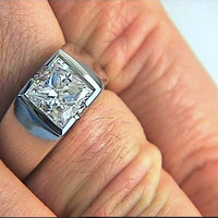 1.51ct Princess Cut Diamond Men's Ring 18kt White Gold JEWELFORME BLUE