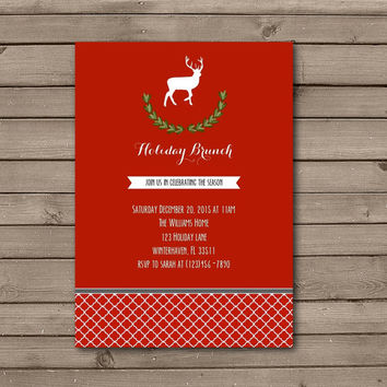 Reindeer Wreath Holiday Brunch Invitations in Red