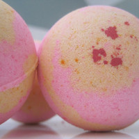 2 Pink Grapefruit Bath Bombs with Handmade Soap Inside