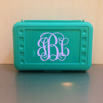 Monogrammed Pencil Box - Crayon Box - Art Box - School Box - TEAL - Art Container - Personalized - Customized - Kids - School Supplies
