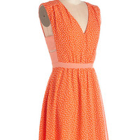 ModCloth Mid-length Sleeveless A-line Herb Garden Party Dress in Orange