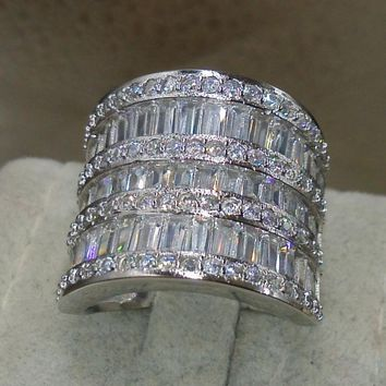 Choucong Fashion Rings for 2016 Jewelry 925 Sterling Silver White AAA CZ Simulated stones Wedding Princess Women Ring Size 5-11