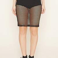Open Mesh Pencil Skirt