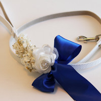 Royal Blue Floral dog Leash, Wedding accessory, Leather