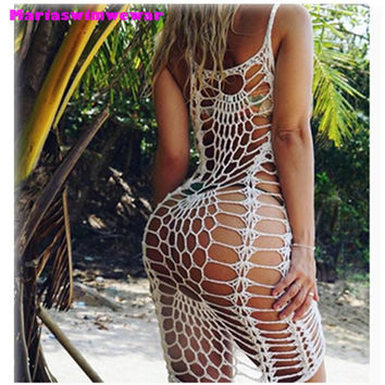 Almoslover1209 2017 New Crochet Dress Women Beach Wear Maio Praia Bikini Swimwear Cover Ups Bikini Wrap Dress Beach Dress