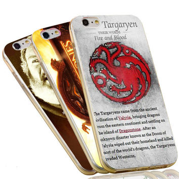 Jon Snow Stark Wolf  Targaryen Quotes The Game of Thrones Case For iPhone 4 4S 5C 5 5S SE 6 6S 7 Plus Soft TPU Phone Cover