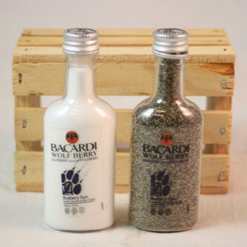 Salt & Pepper Shaker from Upcycled Bacardi Wolf Berry Mini Liquor Bottles