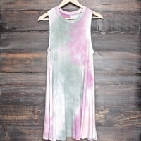 to dye for shirt tank dress - olive + pink tie dye