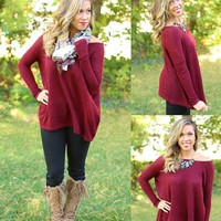 Pretty in Piko Sweater in Burgundy