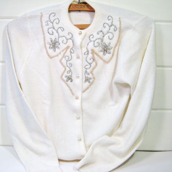 1950's Cardigan Off White Sweater, Pearls, Silver Glass Beads, Pearl Button Orlon Winter White Woman's Sweater
