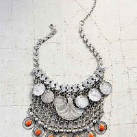 Desert Sun Statement Bib Necklace- Silver One