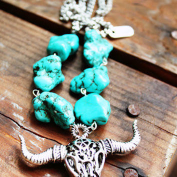 Countrygirl necklace-southwestern cowgirl necklace- vintage silver necklace with a Bison/Bull skull pendant/Native/Tribal/Boho/Rider