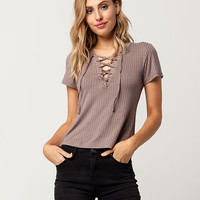 SKY AND SPARROW Rib Lace Up Womens Top | Knit Tops + Tees