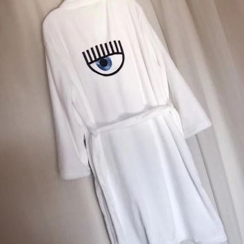 Chiara Ferragni White Cashmere Robe Bathrobes - Soft and comfortable