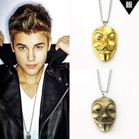 "31""chain 2015 New V Mask Pendent Necklace Hip Hop Jewelleryfor Lover Man Woman  Justin Bieber Chris Brown Show Accessory N156"