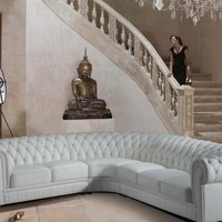 Paris Transitional Tufted White Leather Sectional Sofa