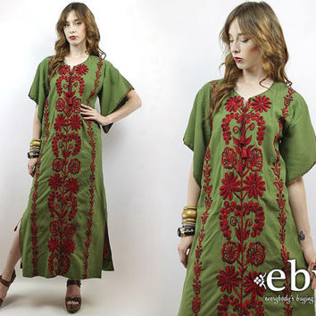 Hippie Dress Hippy Dress Festival Dress Mexican Dress Vintage 70s Olive Embroidered Maxi Caftan Dress S M Embroidered Dress 70s Caftan