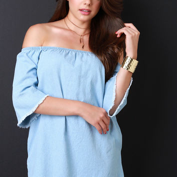 Off The Shoulder Chambray Frayed Dress