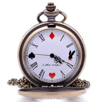 Alice in Wonderland The Write Rabbit and Key Quartz Pocket Watch Analog Pendant Necklace Chain Mens Womens relogio de bolso