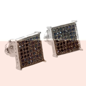 Screw Back Stud Earrings Sterling Silver Square Black Cubic Zirconia 10mm ASC