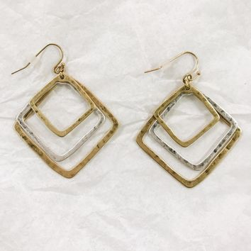 Square Mix Metal Earring