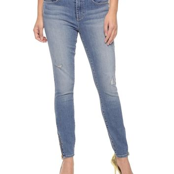 Jagger Wash Knitdigo Skinny Jean With Leg Zippers by Juicy Couture,