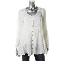 Free People Womens Cotton Long Sleeves Button-Down Top