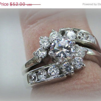On Sale October Sterling Wedding Ring Set Lab Diamonds Vintage Wedding and Engagement Ring, Size 5