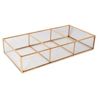 Glass and Metal 3 Compartment Vanity Tray Rose Copper - Threshold™