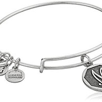 "Alex and Ani Rafaelian Silver Finish Initial ""M"" Expandable Wire Bangle Bracelet, 2.5"""