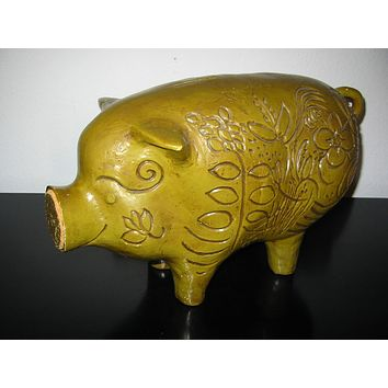California Pottery Piggy Signature Bank Cork Stopper Floral Etching