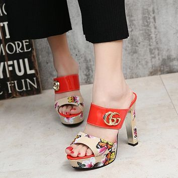 GUCCI Women Fashion Leather Sandals Heels Shoes