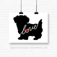 INSTANT DOWNLOAD: Morkie - Silhouette, Print, Digital, Dog, Breeds, Gift, Wall Art, Artwork, Printable, Wall Hanging, Instant, DIY, Gift