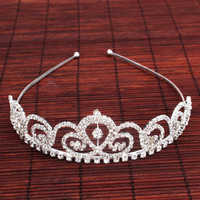 Stylish Party Flower Style Rhinestone Crown Headband Tiara Silver