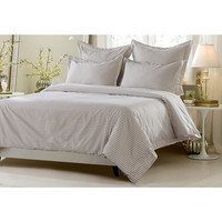 5pc Taupe White Striped Duvet Cover Set Style # 1038 - Cherry Hill Collection