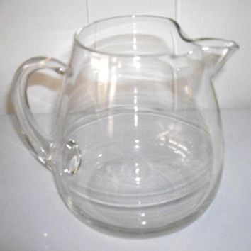 Vintage Art Glass Juice Pitcher, Bar ware, Water Pitcher, Clear glass pitcher